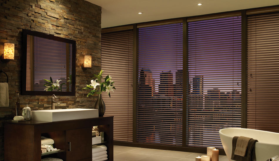 Brushed Brass Aluminum Blinds in Bathroom