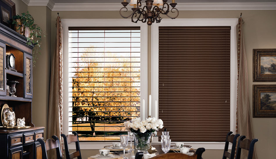 Dining room with Hunter Douglas Modern Precious Metals