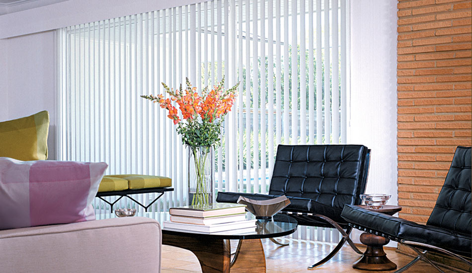 Living Room with Hunter Douglas Vertical Blind