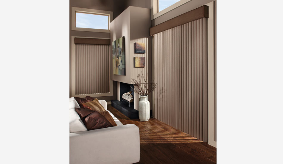 Cadence Vertical Blinds in Living Room