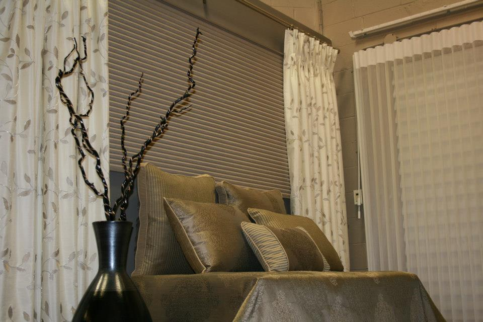 Honeycomb Shade paired with Custom Drapery