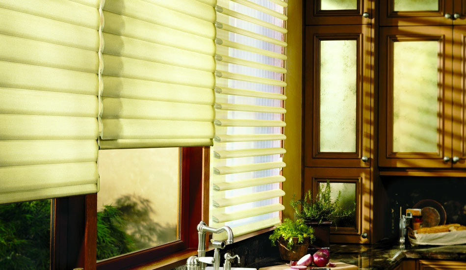 Hunter Douglas Pirouette Shades in Kitchen
