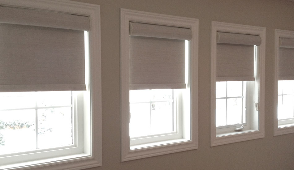Opaque Roller shades with cassette headrails for a bedroom