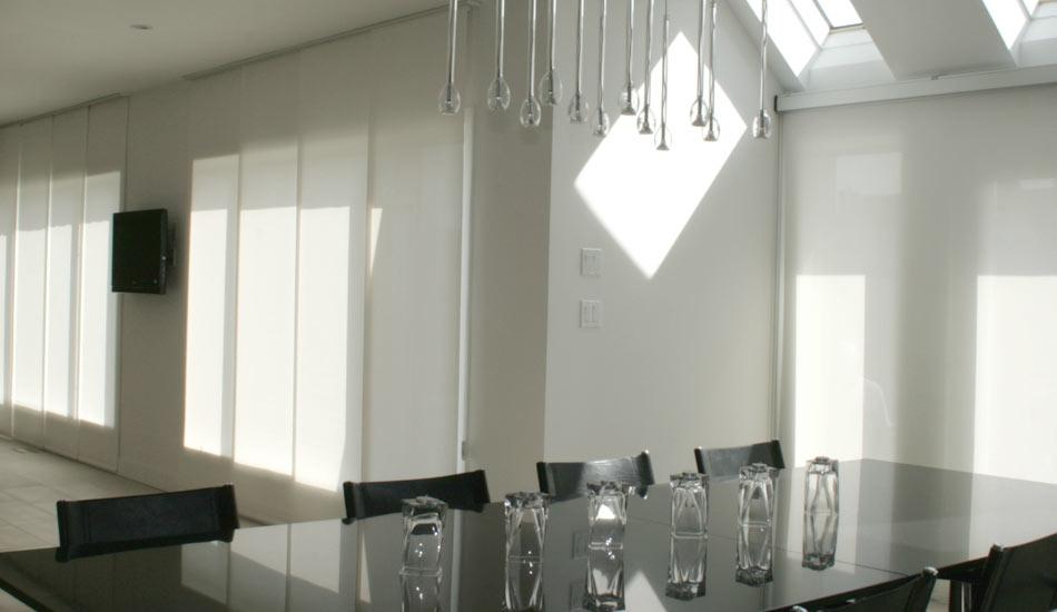 Wall to wall- The Hunter Douglas Gliding Skyline Window Panels are a nice addition