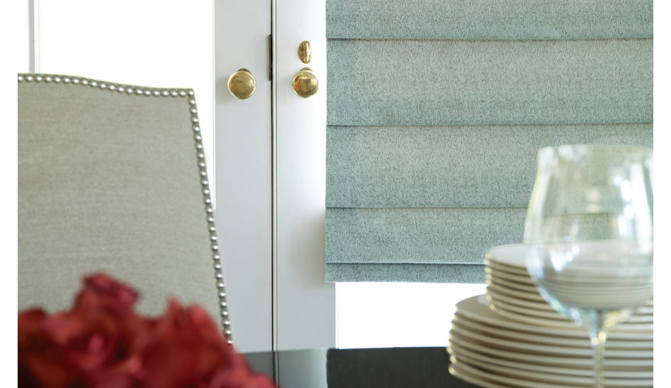 dining room french doors with designer roman shades by hunter douglas