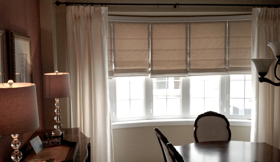 Pair your Roman Shades with Custom Drapery