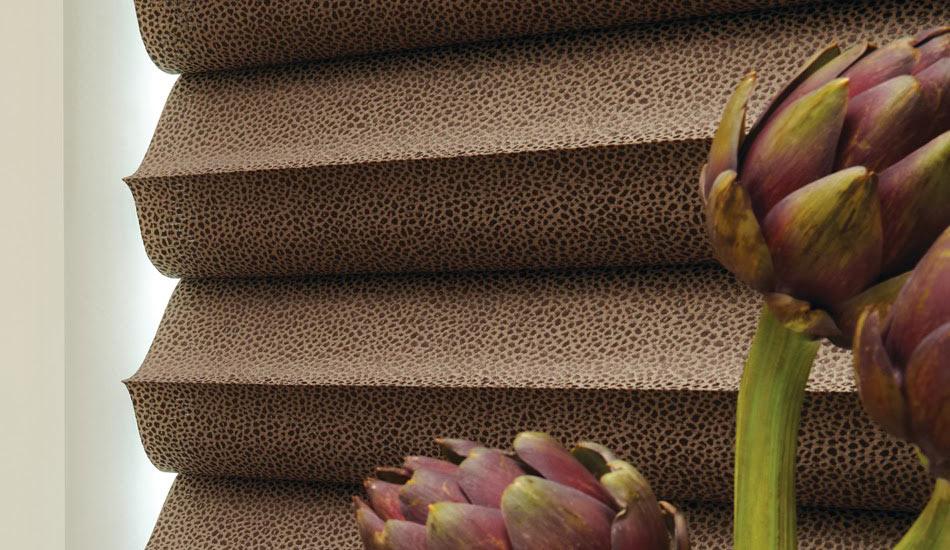 Solera Shade with Cobblestone fabric